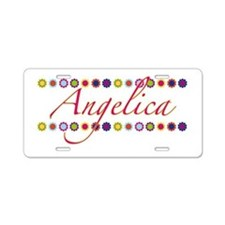 Angelica with Flowers Aluminum License Plate
