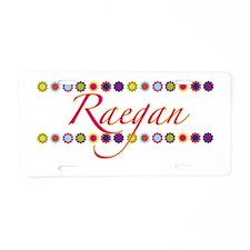Raegan with Flowers Aluminum License Plate