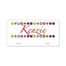 Kenzie with Flowers Aluminum License Plate
