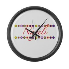 Nayeli with Flowers Large Wall Clock