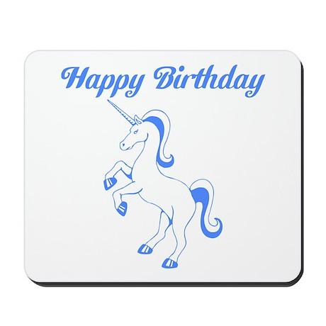 Birthday Unicorn. Blue. Mousepad
