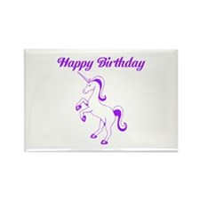 Birthday Unicorn. Purple. Rectangle Magnet