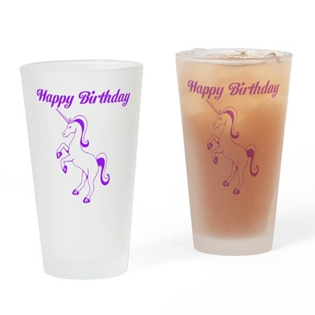 Birthday Unicorn. Purple. Drinking Glass