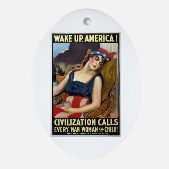 Wake Up America! Ornament (Oval)