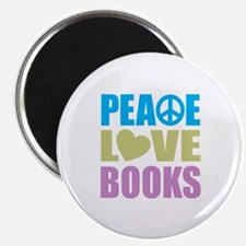 Peace Love Books Magnet