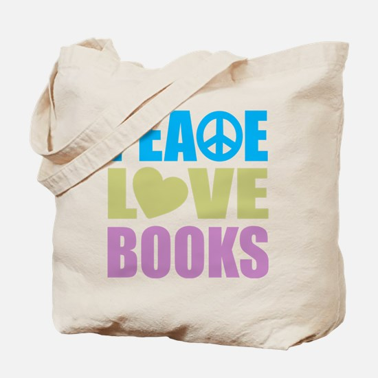 Peace Love Books Tote Bag