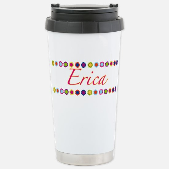 Erica with Flowers Stainless Steel Travel Mug