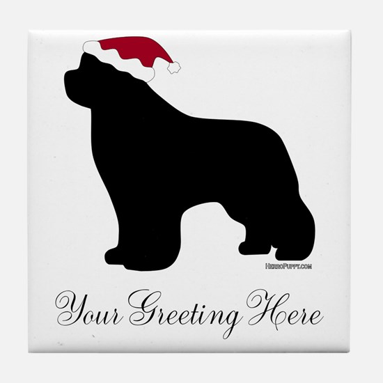 Newf Santa - Your Text Tile Coaster