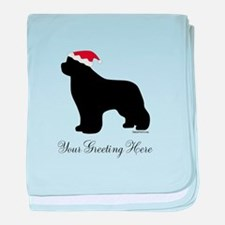 Newf Santa - Your Text baby blanket