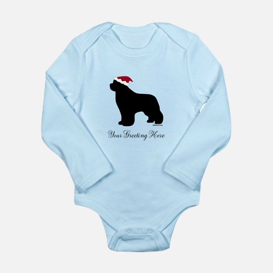 Newf Santa - Your Text Long Sleeve Infant Bodysuit