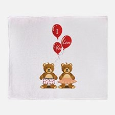 Lovely teddy bears Throw Blanket