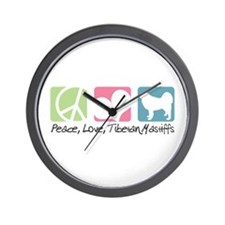 Peace, Love, Tibetan Mastiffs Wall Clock