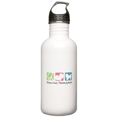 Peace, Love, Tibetan Spaniels Water Bottle