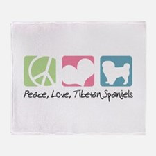 Peace, Love, Tibetan Spaniels Throw Blanket