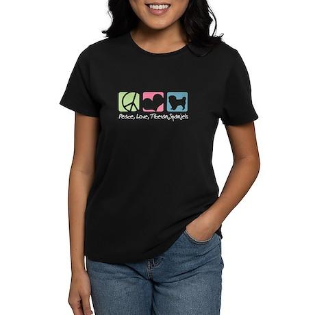 Peace, Love, Tibetan Spaniels Women's Dark T-Shirt