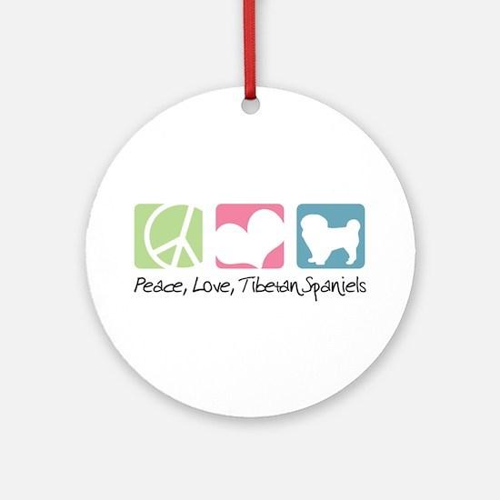 Peace, Love, Tibetan Spaniels Ornament (Round)