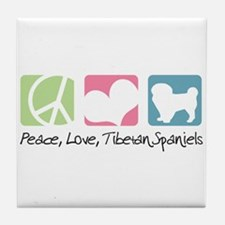 Peace, Love, Tibetan Spaniels Tile Coaster