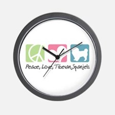Peace, Love, Tibetan Spaniels Wall Clock