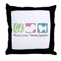 Peace, Love, Tibetan Spaniels Throw Pillow