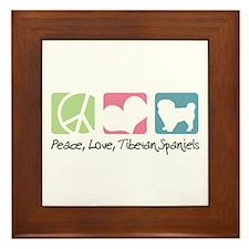 Peace, Love, Tibetan Spaniels Framed Tile