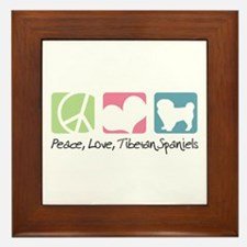 Peace, Love, Tibetan Spaniels Framed Tile