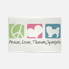Peace, Love, Tibetan Spaniels Rectangle Magnet