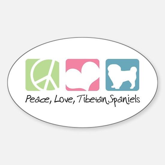 Peace, Love, Tibetan Spaniels Sticker (Oval)