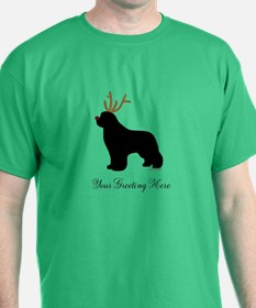 Reindeer Newf - Your Text T-Shirt