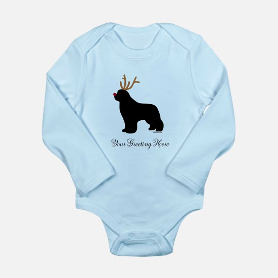 Reindeer Newf - Your Text Long Sleeve Infant Bodys