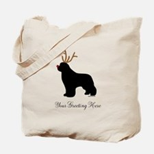 Reindeer Newf - Your Text Tote Bag