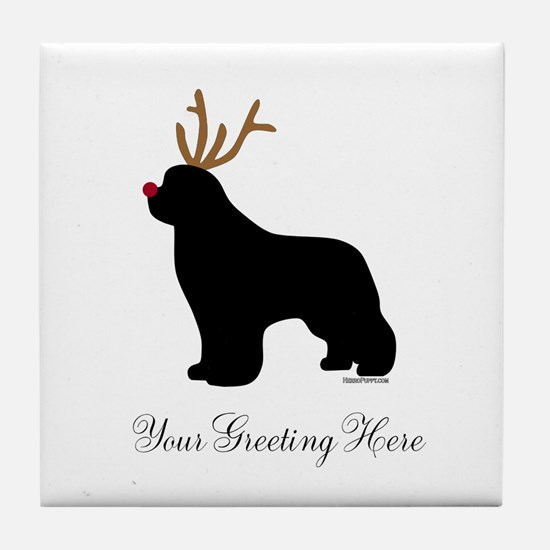Reindeer Newf - Your Text Tile Coaster