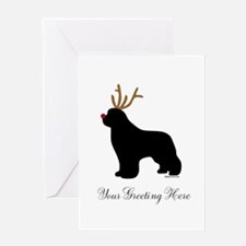 Reindeer Newf - Your Text Greeting Card