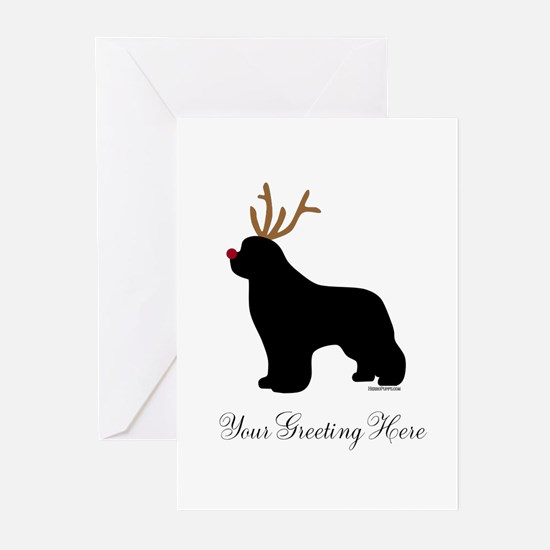 Reindeer Newf - Your Text Greeting Cards (Pk of 20