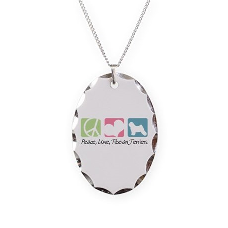 Peace, Love, Tibetan Terriers Necklace Oval Charm