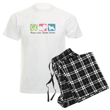 Peace, Love, Tibetan Terriers Men's Light Pajamas