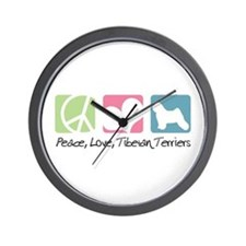 Peace, Love, Tibetan Terriers Wall Clock