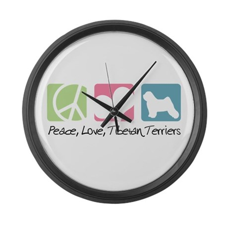 Peace, Love, Tibetan Terriers Large Wall Clock
