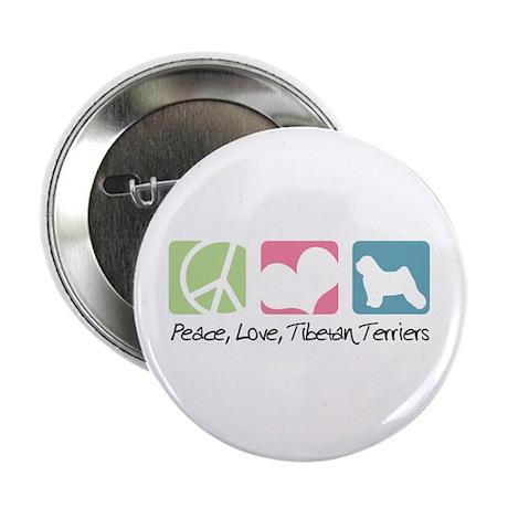 "Peace, Love, Tibetan Terriers 2.25"" Button (10 pac"