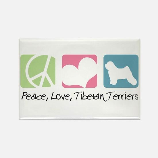 Peace, Love, Tibetan Terriers Rectangle Magnet