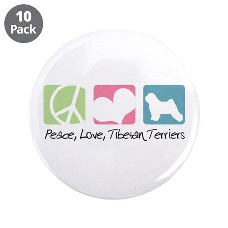 "Peace, Love, Tibetan Terriers 3.5"" Button (10 pack"