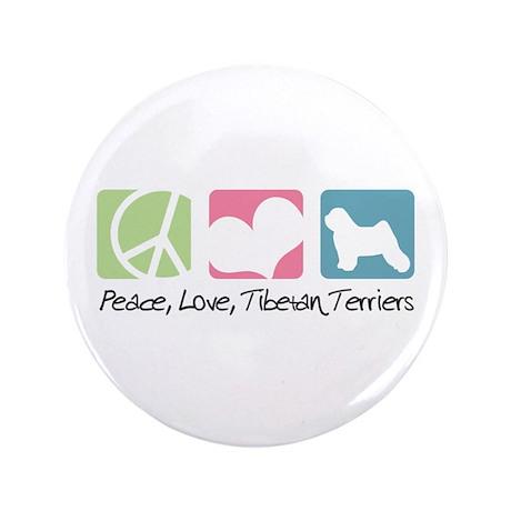 "Peace, Love, Tibetan Terriers 3.5"" Button (100 pac"