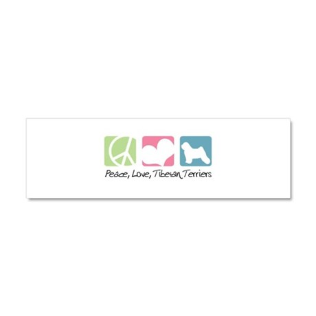 Peace, Love, Tibetan Terriers Car Magnet 10 x 3