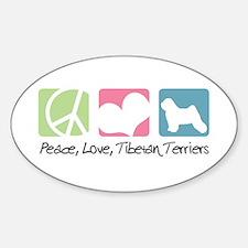 Peace, Love, Tibetan Terriers Sticker (Oval)