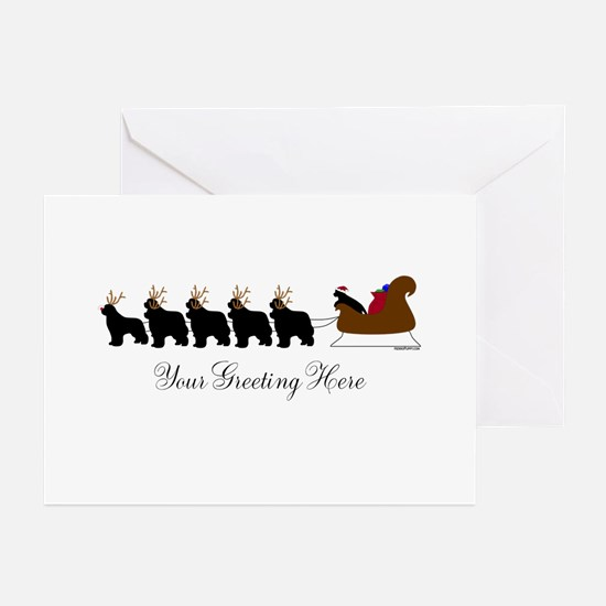 Newf Sleigh - Your Text Greeting Cards (Pk of 20)