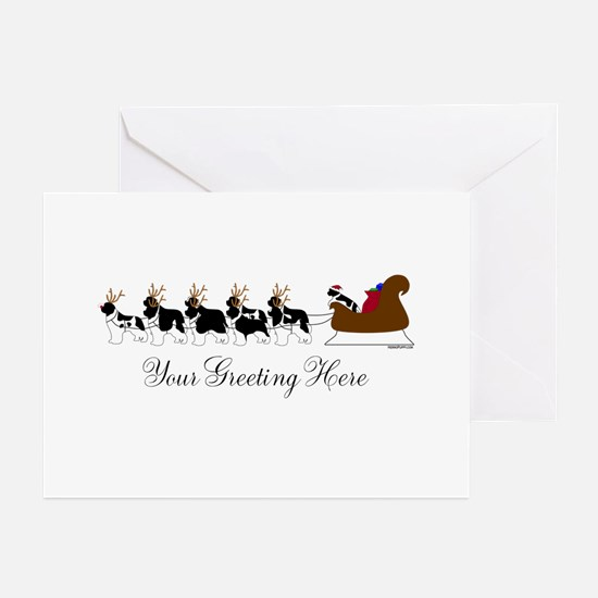 Landseer Sleigh - Your Text Greeting Cards (Pk of