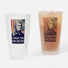 Jefferson End the Fed Drinking Glass