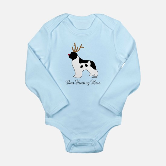 Reindeer Landseer - Your Text Long Sleeve Infant B