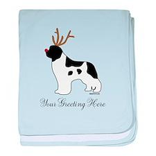 Reindeer Landseer - Your Text baby blanket