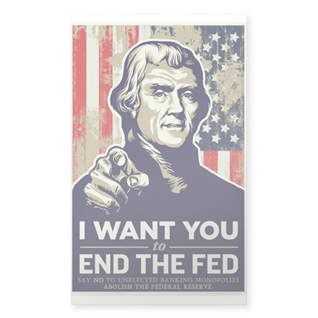 Jefferson End the Fed Sticker (Rectangle)