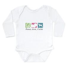 Peace, Love, Vizslas Long Sleeve Infant Bodysuit